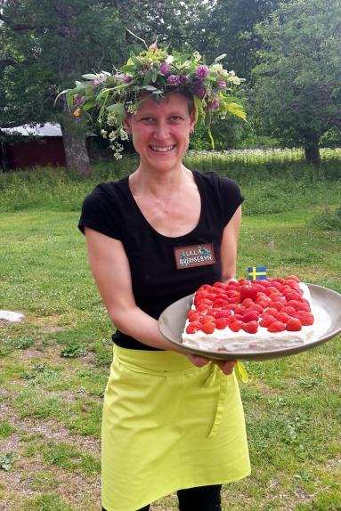 Nina with strawberry cake